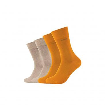 Camano Unisex Socken 4er-Pack - 2x grün/2x orange