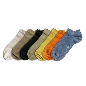 Camano Sneakersocken 7er Pack - 4x grün/1x schwarz/1x creme/1x orange